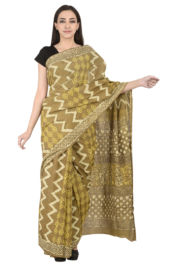 Green-Off White and Yellow Cotton Block Print Saree-20106